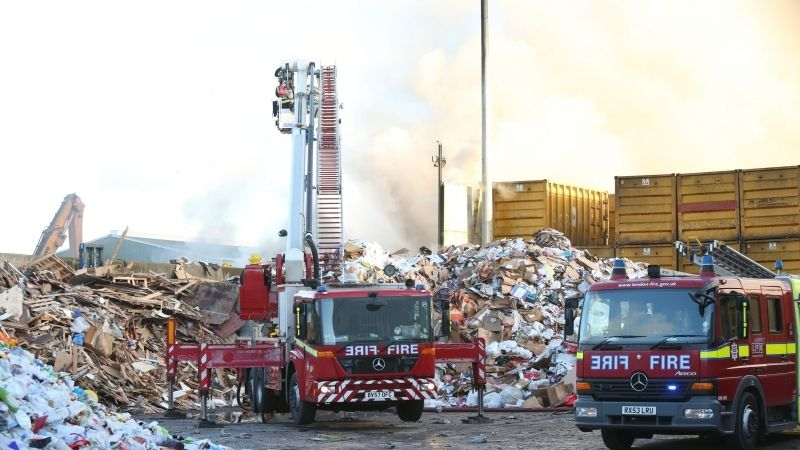 Seventy  Fire Fighters Tackle  Fire That Has Ripped Through Recycling Centre At Brentford