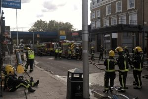 Fire Crews Tackle Blaze  At Clapham  Takeaway