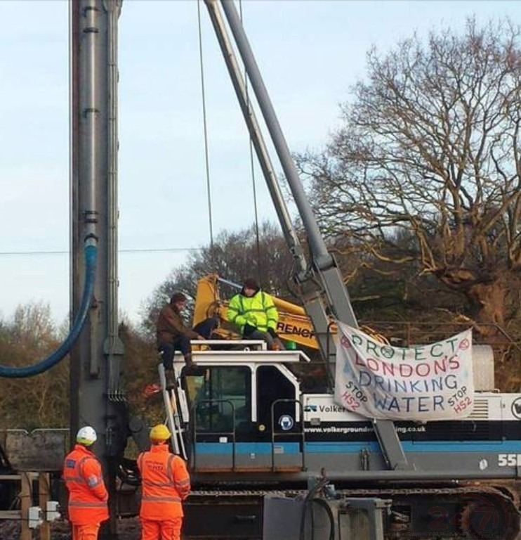 Extinction Rebellion Protesters Disrupt Hs2 By Climbing On Drill
