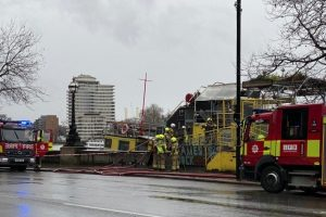 Firefighters Were Called To Reports Of Smoke Issuing From A Floating Restaurant On The Thames By Albert Embankment