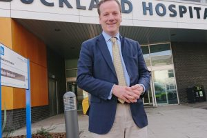 Charlie Elphicke outside Buckland Hospital in Dover 0